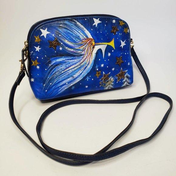 Sharif Leather Hand Painted Angel crossbody Bag